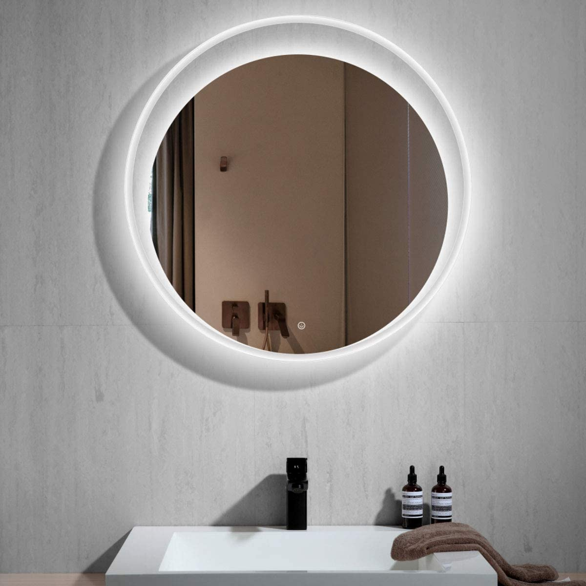 Amazon Com Dp Home 30 In Modern Round Led Backlit Mirror With Touch Button Wall Mounted Lighted Illuminated Vanity Mirrors For Bathroom Bedroom Living Room E Ck209 Home Kitchen