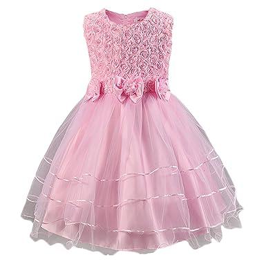 a63b6ab3d499 MagiDeal Kids Girls Dress Rose Flower Princess Sleeveless Formal ...