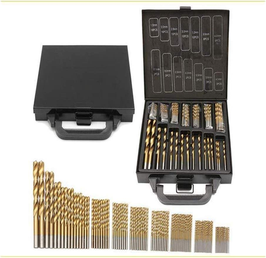 XinXinFeiEr Reinforced 99pcs Titanium Coated Drill Bits High Speed Steel Drill Bit Tool Set 1.5mm -10mm Stainless Steel Drill Bit Set For Wood Featured (Color : Gold) Gold