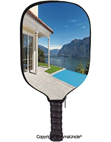 SCOXIXI 3D Pickleball Paddle Racket Cover Case,Lake Maggiore Swedish Alps View Terrace of a