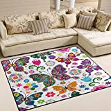 ALAZA Spring Floral Butterfly Area Rug Rugs for Living Room Bedroom 7′ x 5′ For Sale