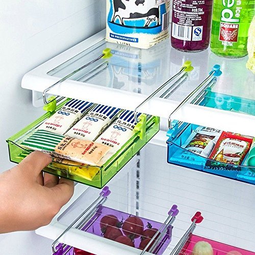 OKOKMALL US--Slide Kitchen Fridge Space Freezer Organizer Saver Storage Rack Shelf Holder New