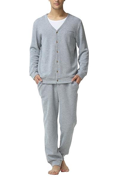 Dolamen Pijamas para Hombre, Pijamas Hombre Invierno, Hombre Camisones Pijamas de Parejas, Algodón