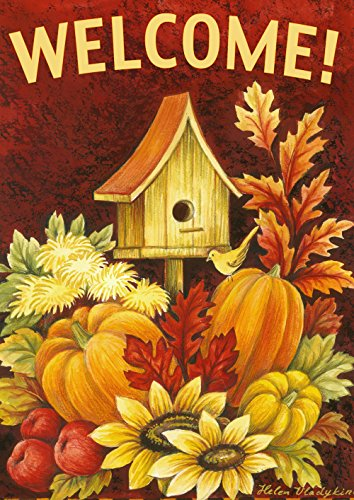 Toland Home Garden Fall Birdhouse 28 x 40 Inch Decorative Autumn Harvest  Welcome Double Sided House (Birdhouses House Flag)