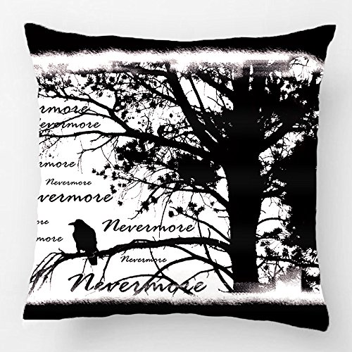 Alex Throw Pillow Case Decorative Cushion Cover Cotton Polyester Chair Square Pillowcase Design with Black and White Nevermore Raven Silhouette Custom Pillow Case Print Double Side Sized 18X18 -