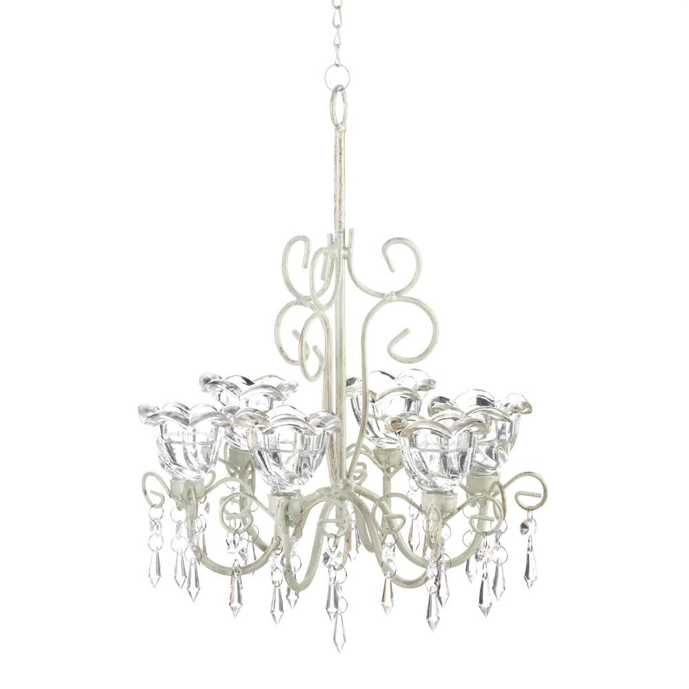 Decorative Candle Chandelier, White Hanging Chandeliers Candle Holders - Metal