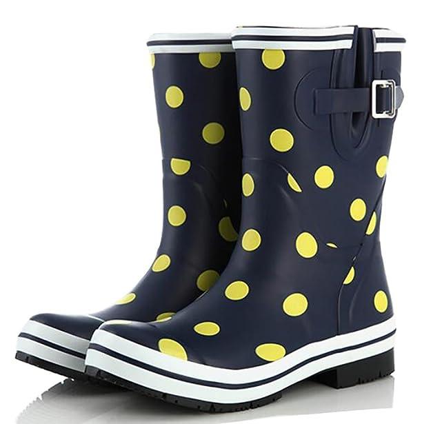Rain Boots Damen Retro Tube Naturkautschuk Pfützen Mädchen Gummistiefel Beleg, 2, 35