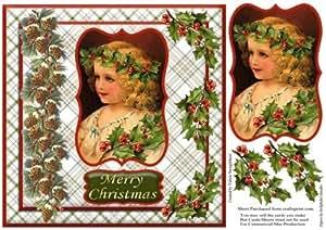 8x 8vintage de niña Tarjeta de Navidad frente por Valerie Swinglehurst