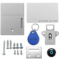 RFID - Bloqueo inteligente para clóset, electrónico, con cerradura oculta, sensor de tarjeta IC, clóset digital con cajón, sin llave, para sauna, zapatero, seguridad sin agujero perforado, Plateado