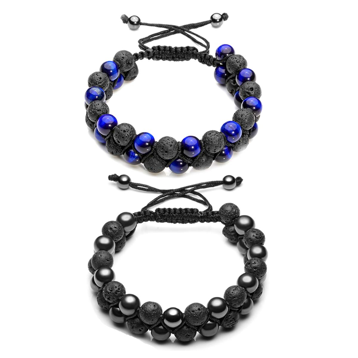 Crystal Tears Mens Lava Rock Bracelet-Tiger Eye Bead Hemitate Bracelet Men Natural Stone Yoga Essential Oil Braid Bracelets Double Layer Beads