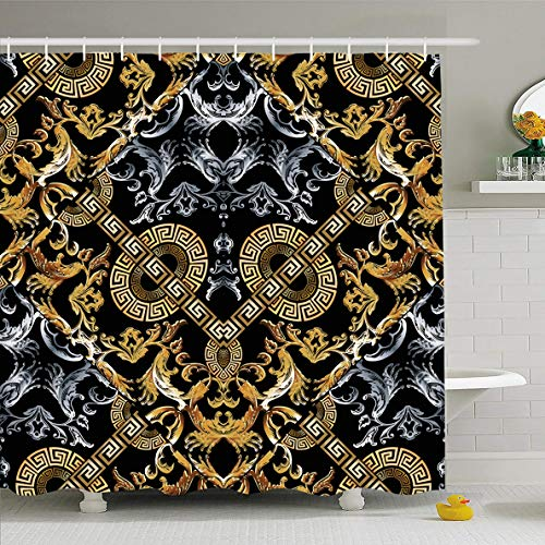Ahawoso Shower Curtain 60 x 72 Inches Retro Silver Versace Baroque Black Damask Vintage Royal Pattern Gold Border Rococo Abstract Design Waterproof Polyester Fabric Bathroom Set with Hooks ()