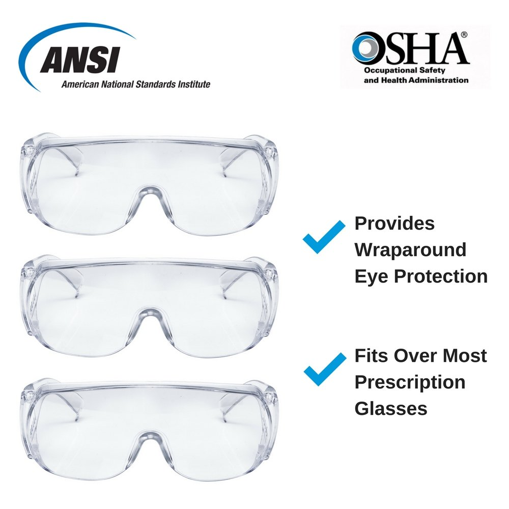 AMSTON Safety Glasses (3-pack), ANSI Z87+ Standards, Eyewear Personal Protective Equipment/PPE for Construction, DIY, Home Projects & Lab Work by Amston Tool Company (Image #8)