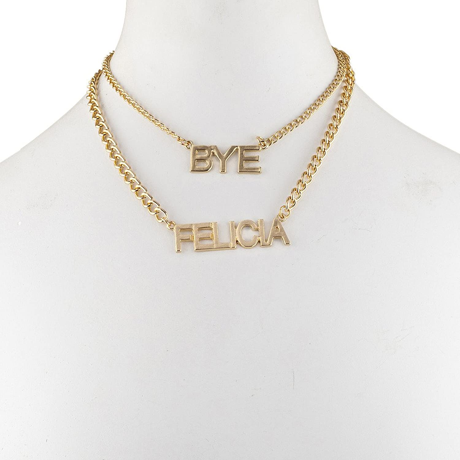 Lux Accessories Trendy Goldtone Bye Felicia Layered Verbiage Name Plate Necklace OM2iSacM
