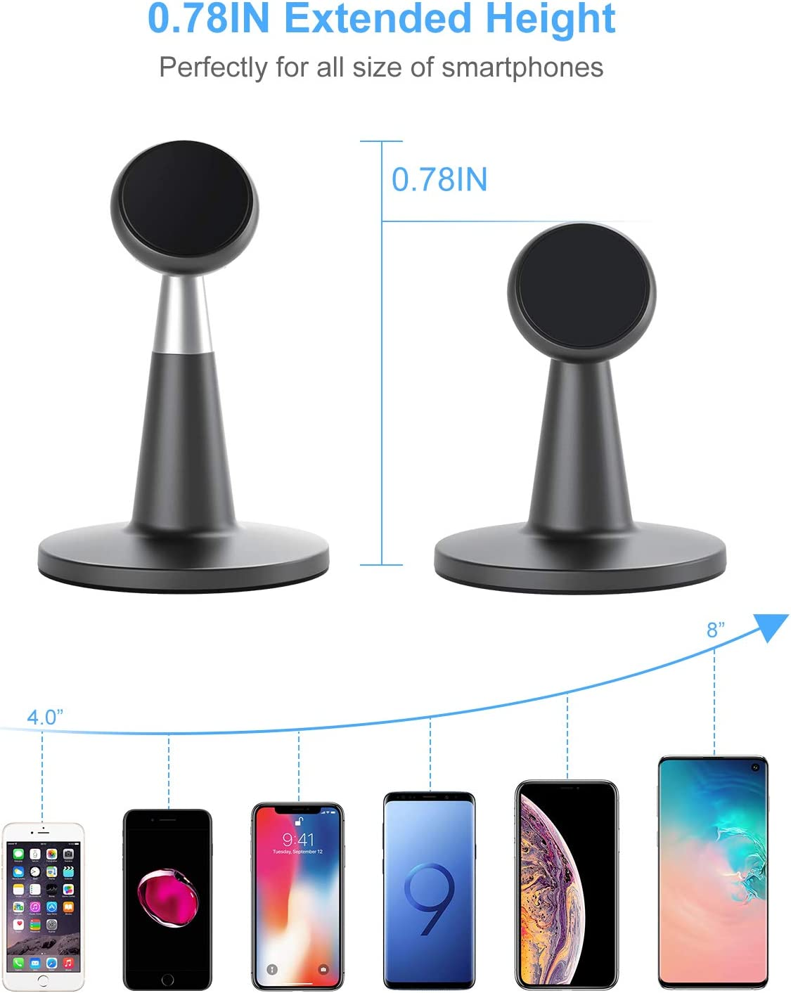 Upgraded Magnetic Cell Phone Stand for Desk Samsung Google Pixel and More SUPERONE Desktop Phone Holder Compatible with iPhone 11 Pro Xs Xs Max Xr X 8 7 6