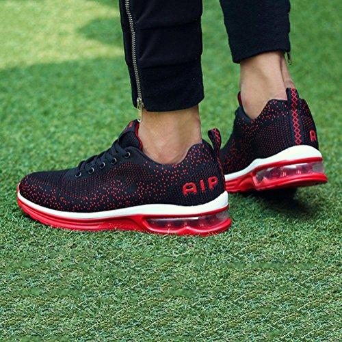 Mâle Automne Sport Chaussures Flyknit Tissu Chaussures De Basket-ball Coussin D'air Antichoc Chaussure Mâle Chaussures De Course, Rouge, 42