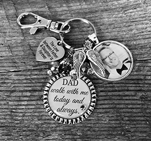 Hearts Wedding Photo - BRIDAL bouquet charm, walk with me today always, REMEMBRANCE jewelry, BRIDAL bouquet photo charm, Forever in my heart, photo pendant, Bride