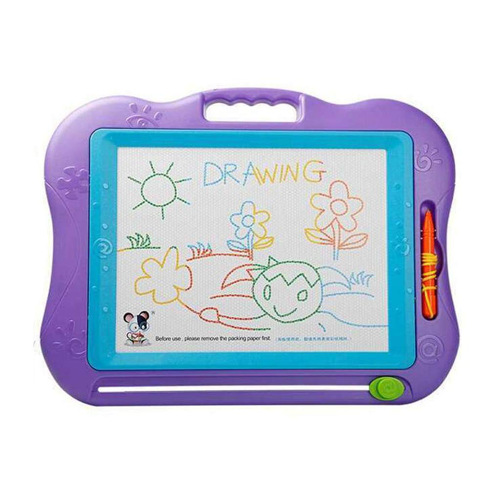 DE ZARS Magnetic Drawing Board Colors Writing Painting Sketching Pad with 5 Stamps and Sticker for Toddler Boy Girl Kids Skill Development