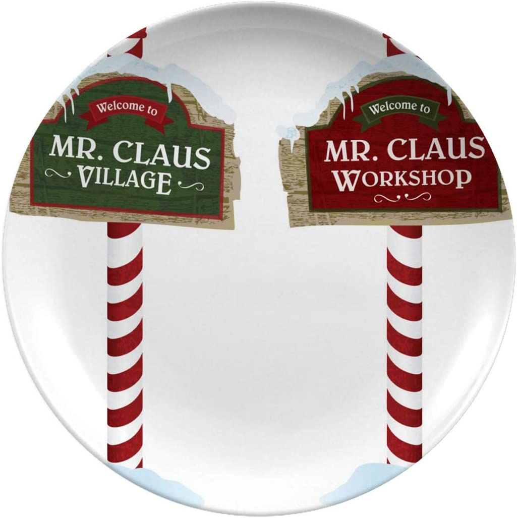 Christmas Ceramic Stoneware Dinner Plates,Christmas And Holiday Wooden,dinner Plates Set Plate For Home And Kitchen,dinner Dishes,8 Inch 6 Piece Set