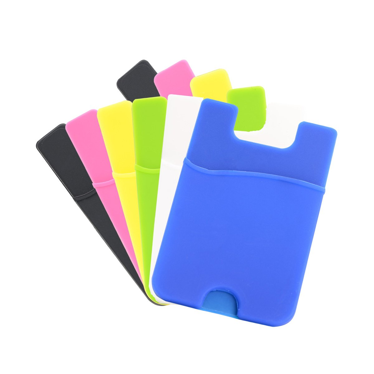 Chanroy--Silicone Credit Card Holder / ID Card Holder / Pouch Sleeve Holder for all phones.Fits on the backside of the phone (iPhone / Samsung Galaxy / Sony Eriksson / LG) (6 Pack Multicolor)
