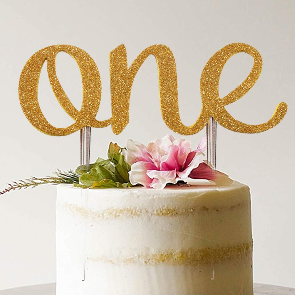 Marvelous 1St Birthday Cake Topper Decoration One Gold Glitter Double Side Personalised Birthday Cards Veneteletsinfo