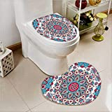 2 Piece Toilet Cover set India Henna Style CirclesRetro Kaleidoscope Hot Pink and Light Pink in Bathroom Accessories