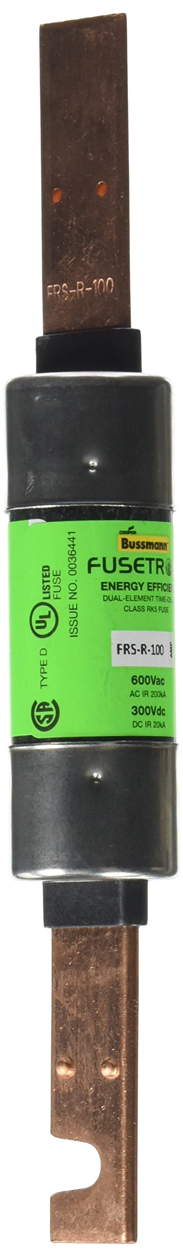 Bussmann FRS-R-100 100 Amp Fusetron Dual Element Time-Delay Current Limiting Class RK5 Fuse, 600V UL Listed
