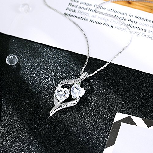 MUATOGIML 925 Sterling Silver Always My Daughter Forver My Friend Double Love Heart Pendant Necklace, 18'' Box Chain by MUATOGIML (Image #3)