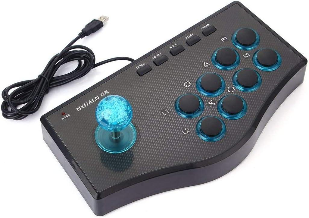 3 en 1 Controlador de Juegos con Cable USB Arcade Fighting Joystick Stick para PS3 Computadora PC Gamepad Diseño de ingeniería Consola de Juegos: Amazon.es: Juguetes y juegos