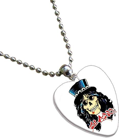 Slash calavera amor corazón collar de púa de guitarra banda de ...