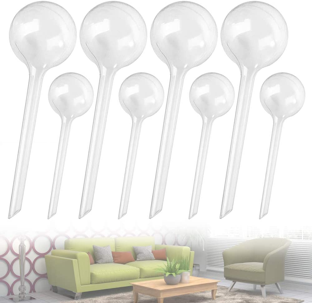 Qiuttnqn 8 Pcs Plant Clear Watering Bulbs,Automatic Self-Watering Globes,Garden Water Device Watering Bulbs for Plants Garden