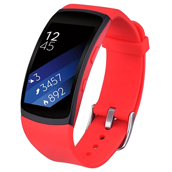 Gear Fit 2 / Fit2 Pro Bands, V-Moro Accessories Softer Silicone for Samsung Gear Fit2 and Fit2 Pro Smartwatch (Red, Large)