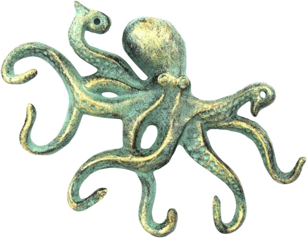 Antique Bronze Cast Iron Octopus Hook 11 Inch - Decorative Hook - Sealife Metal Wall Hook