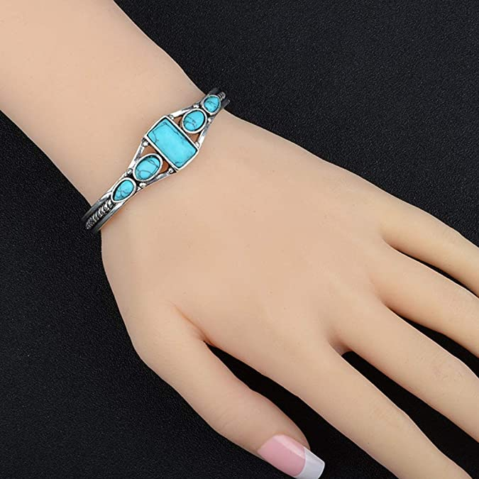 Powerfulline Exquisite Women Bohemia Vintage Faux Turquoise Open Bangle Bracelet Cuff Jewelry Gift Sale