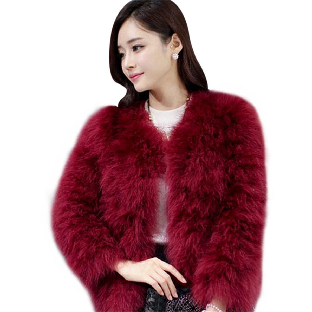 FUNOC Women's Winter Short Faux Coat Fluffy Outerwear Jacket Warm Overcoat
