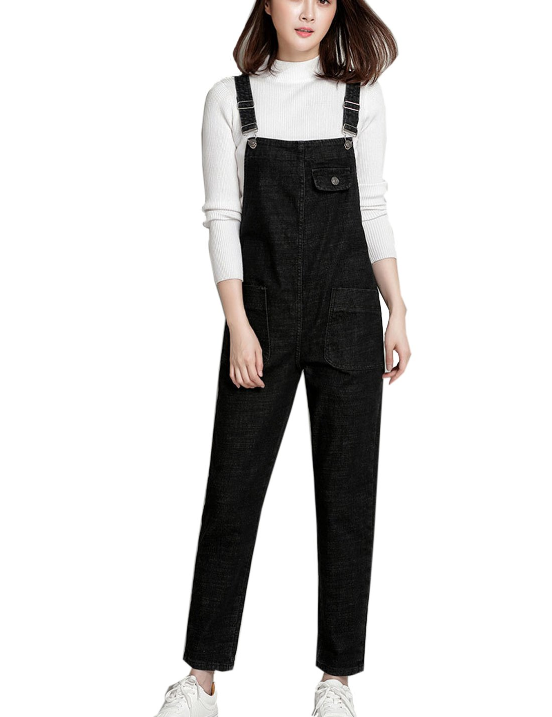 Flygo Women's Casual Bib Denim Overalls Pant Jeans Jumpsuits with Pockets (X-Small, Black) by Flygo