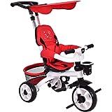 Costzon 4-In-1 Baby Tricycle Steer Stroller Detachable Learning Bike w/Canopy Basket