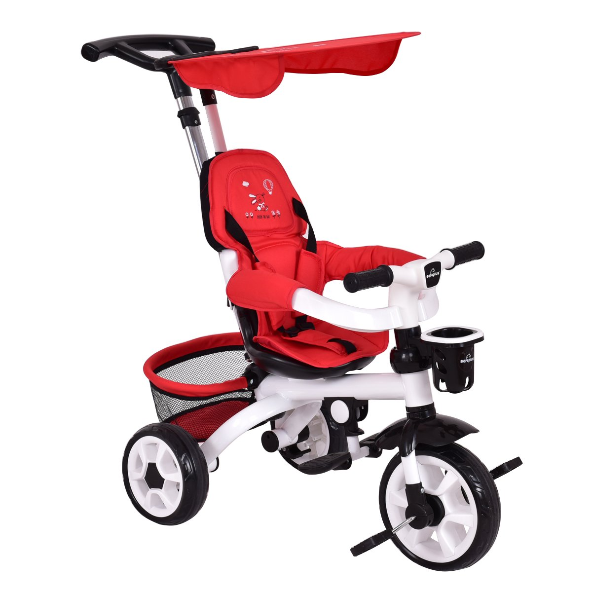 Costzon 4-In-1 Baby Tricycle Steer Stroller Detachable Learning Bike w/ Canopy Basket (Red)