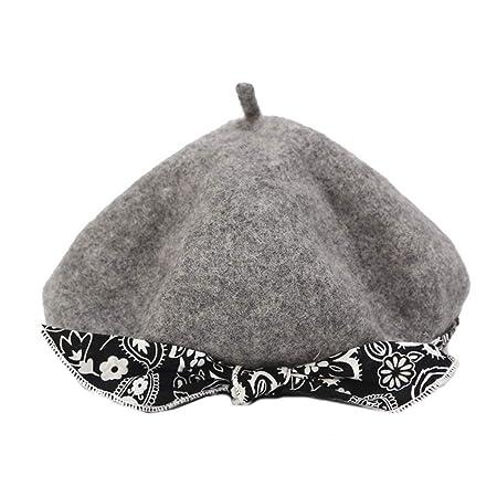 ECMQS - Gorra de lana para mujer, diseño floral gris claro: Amazon ...
