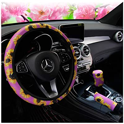Ranxizy Neoprene Cloth Washable Sunflower Steering Wheel Cover Handbreak Cover Gear Shift Cover for Universal Car 1 Set 3 Pcs(Purple): Automotive
