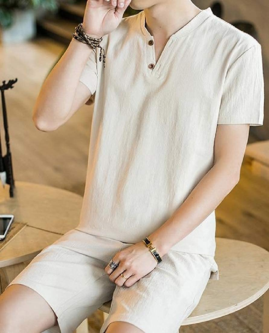 Wofupowga Mens Cotton Linen Short Sleeve Chinese Style Summer Shirt and Shorts Sets