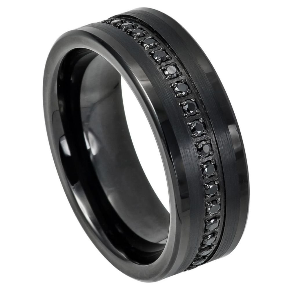 Men's 8mm Pipe Cut Edge High Polish Black Ion Plated with Black Cubic Zirconia Eternity over Brushed Center Tungsten Carbide Wedding Band - s10.5 by Toso Web (Image #1)