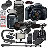 Canon EOS Rebel T7i DSLR Camera Bundle with Canon EF-S 18-55mm f/4-5.6 IS STM Lens + Canon EF 75-300mm f/4-5.6 III Lens + 500mm f/8 Preset Lens + Accessory Kit