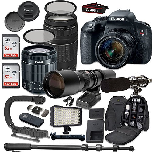 Canon EOS Rebel T7i DSLR Camera Bundle with Canon EF-S 18-55mm f/4-5.6 IS STM Lens + Canon EF 75-300mm f/4-5.6 III Lens + 500mm f/8 Preset Lens + Accessory (Canon Af Extension Tube)