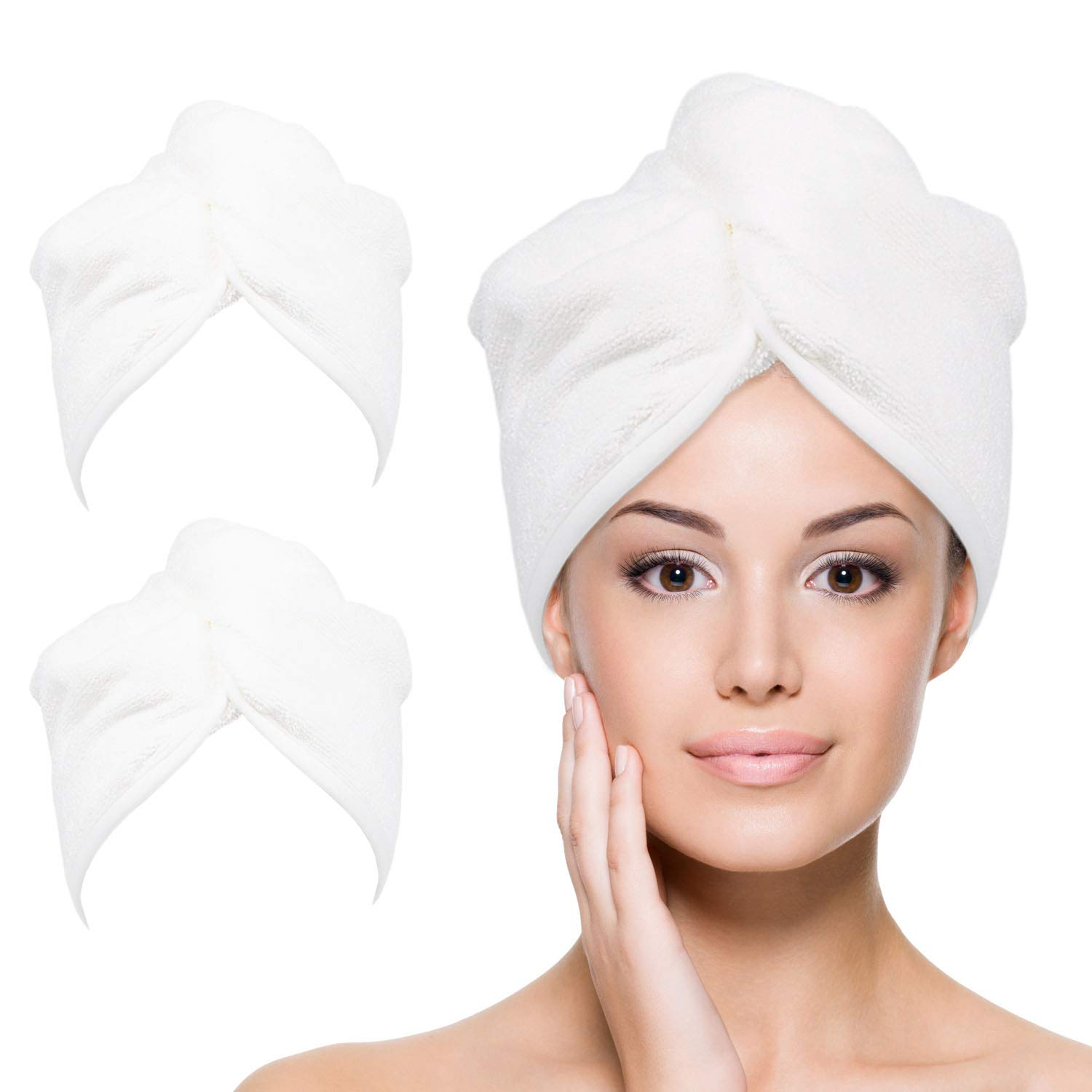 YoulerTex Microfiber Hair Towel Wrap for Women, 2 Pack 10 inch X 26 inch, Super Absorbent Quick Dry Hair Turban For Drying Curly, Long & Thick Hair (White)