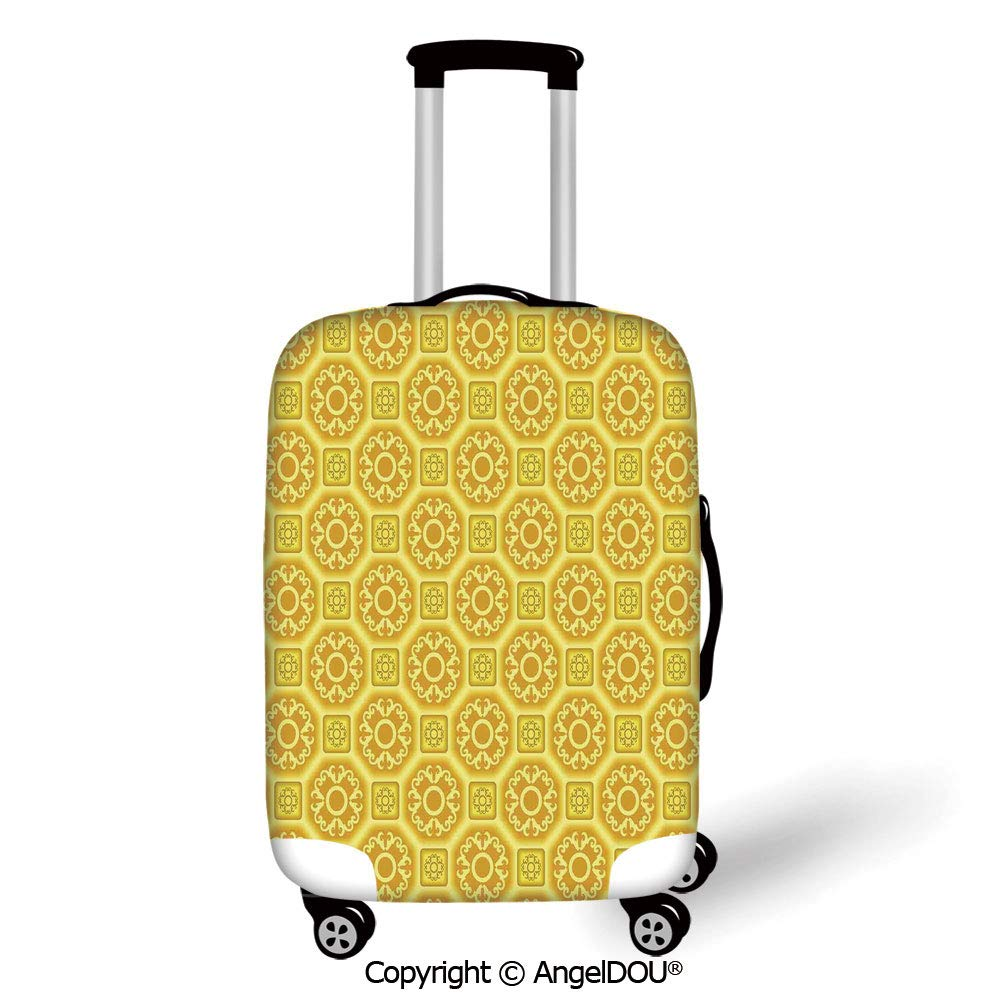 AngelDOU Thicker Spandex Travel Suitcase Protective Cover Watercolor Flower Garden Daisy Flowers in Soft Painting Effect Dramatical Nature Graphic Decorative Yellow White Trolley Dust Rain Bags Acces