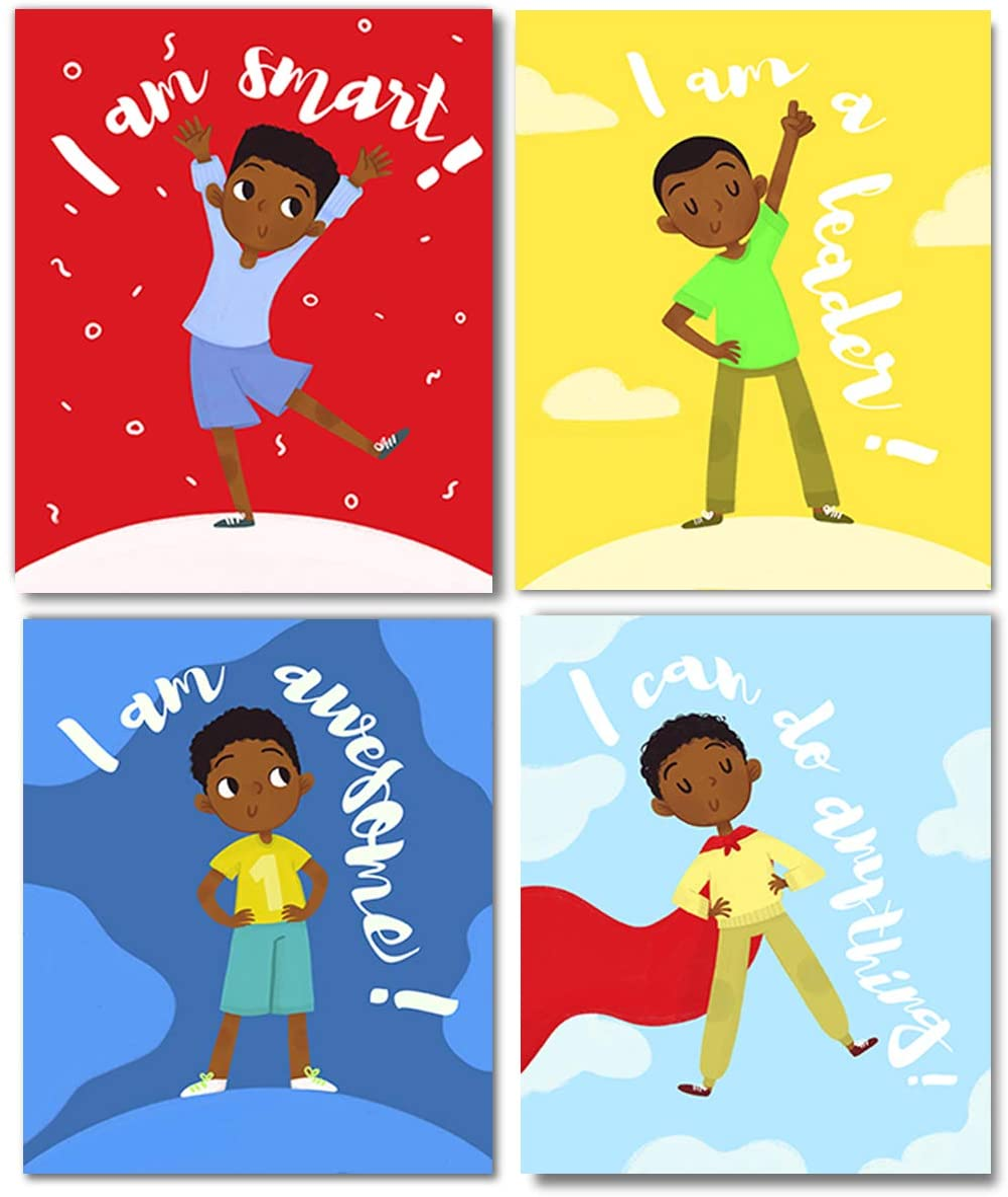 Set of 4 Boys Room Decor, Motivational Black Boy Wall Art, (Unframed) Kids Room Decor For Boys, Posters For Tween Boys Room, Boys Wall Decor, Boys Room Wall Decor, Kids Wall Art, Wall Art For Boys Bedroom (8x10)