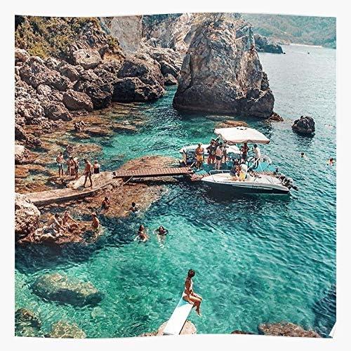Aarons Village Slim Ocean Boat Vintage Beach View Regalo para la decoraci/ón del hogar Wall Art Print Poster 11.7 x 16.5 inch