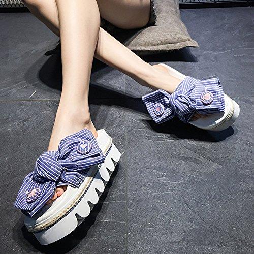 Noeud Chaussures 6 Muffin Fashion Talon Trente Femme pais Wear Haut Rayures Cm huit t Fond Bleu Kphy Papillon w18qxI4qd