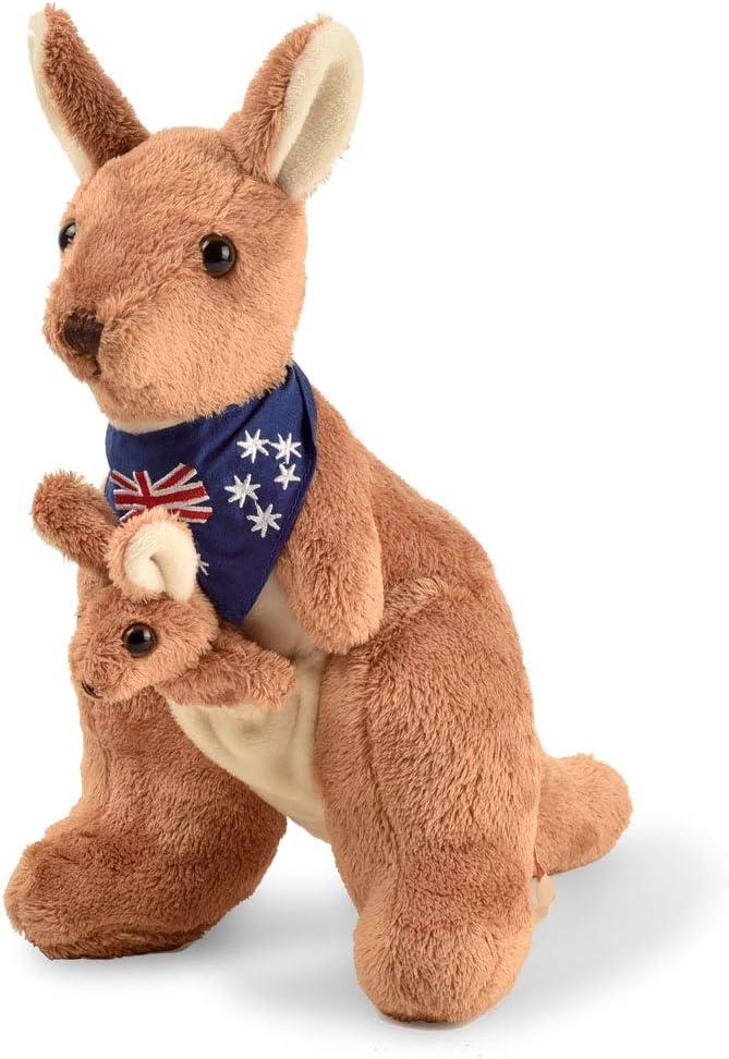 BOHS Felpa Canguro Rojo con Bufanda Australia y Joey - Huggable Suaves Animales de Peluche Juguetes a 11 Pulgadas