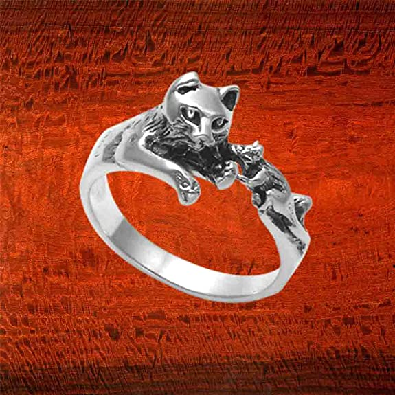 Sterling Silver Adjustable Kitten And Mouse Ring